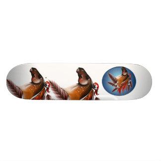 Caballo y monopatín rojo de las plumas patin