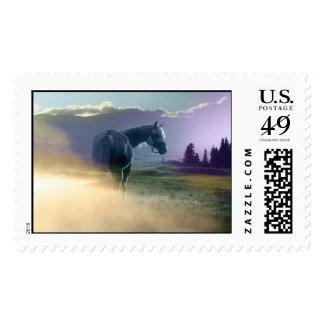 Caballo y nubes timbre postal