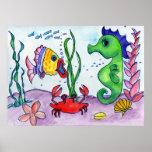 Caballo y pescados de mar poster