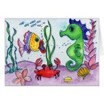 Caballo y pescados de mar tarjetas