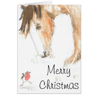 Caballo y petirrojo el mañana de navidad tarjeta de felicitación