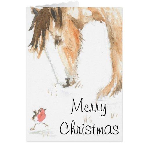 Caballo y petirrojo el mañana de navidad tarjeta