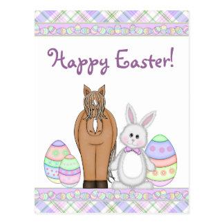 Caballo y postal feliz de Pascua del conejito