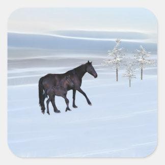 Caballo y potro en nieve calcomanías cuadradass