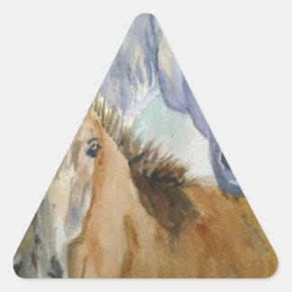 Caballo y potro pegatina triangular