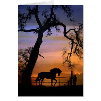 Caballo y roble equinos de la tarjeta de