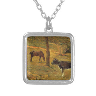 Caballo y vaca en un prado de Paul Gauguin Colgante Cuadrado