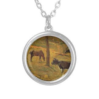 Caballo y vaca en un prado de Paul Gauguin Colgante Redondo