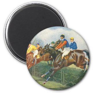 Caballos 2 de la caza de la aguja del vintage imán redondo 5 cm