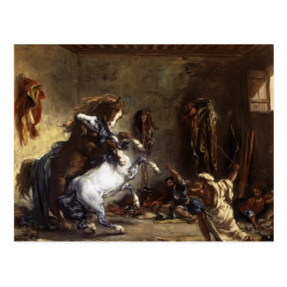 Caballos árabes de Eugene Delacroix- que luchan en Postales