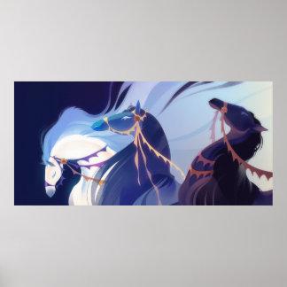 Caballos - azul posters
