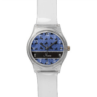 Caballos azules conocidos personalizados del relojes de mano