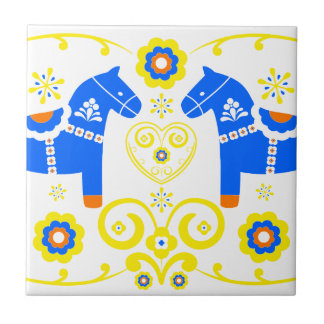 Caballos azules de Dala Azulejo Cuadrado Pequeño