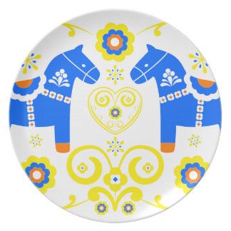 Caballos azules de Dala Platos