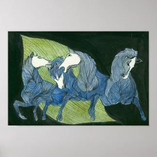 Caballos azules libres corrientes - poster