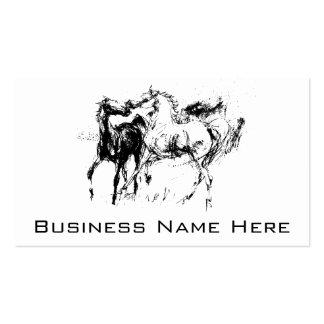 Caballos blancos y negros tarjetas de visita