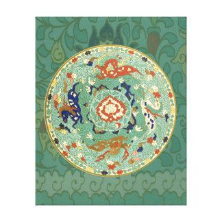Caballos chinos del aire de mar de la tierra del impresión en lienzo