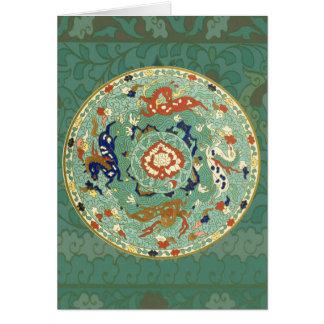 Caballos chinos del aire de mar de la tierra del tarjeta de felicitación