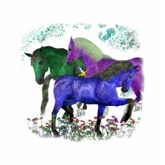 Caballos coloreados fantasía en diseño gráfico de  escultura fotográfica