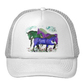 Caballos coloreados fantasía en diseño gráfico de  gorras