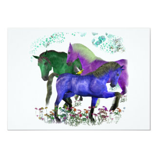 Caballos coloreados fantasía en diseño gráfico de comunicados personalizados