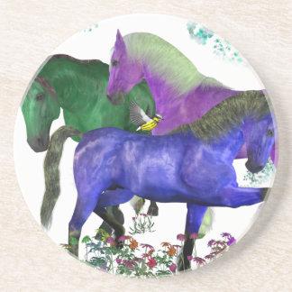Caballos coloreados fantasía en diseño gráfico de  posavasos manualidades