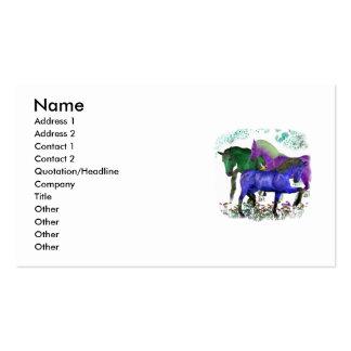Caballos coloreados fantasía en diseño gráfico de  tarjeta de visita