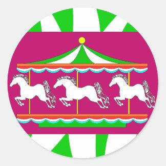 Caballos coloridos del tiovivo del carrusel de los pegatinas redondas