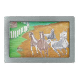 caballos corrientes hebilla de cinturón rectangular