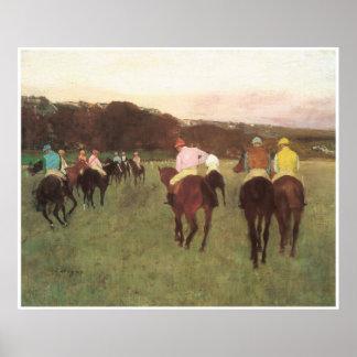 Caballos de carreras en Longchamp, C. 1873-75 - Póster