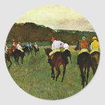 Caballos de carreras en Longchamp de Edgar Degas Pegatina Redonda