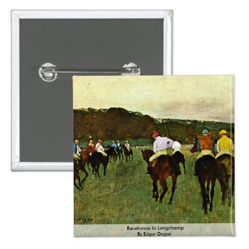 Caballos de carreras en Longchamp de Edgar Degas Pin