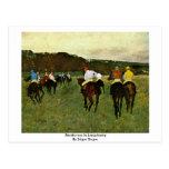 Caballos de carreras en Longchamp de Edgar Degas Tarjeta Postal