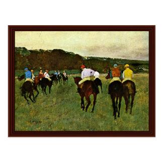 Caballos de carreras en Longchamp de Edgar Degas Tarjetas Postales