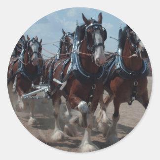 Caballos de Clydesdale Pegatina Redonda
