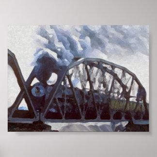 Caballos de hierro y puentes del hierro poster