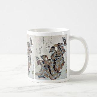 Caballos de la afición de Soga por Utagawa, Toyoku Taza Básica Blanca