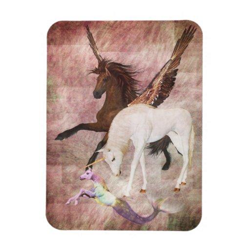 Caballos de la fantasía iman rectangular