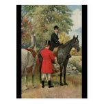 Caballos de la mujer del hombre del vintage ecuest tarjeta postal