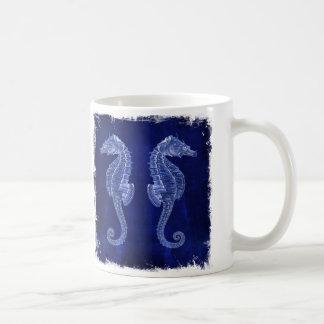 caballos de mar del vintage del azul de océano del taza