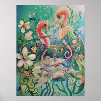 Caballos de mar en poster de la primavera