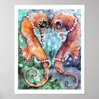Caballos de mar esmeralda del ojo poster
