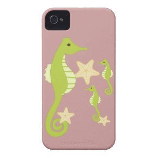 Caballos de mar verde suaves Case-Mate iPhone 4 carcasa