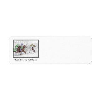 Caballos de raza de la demostración del lugar del etiqueta de remite