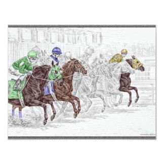 Caballos de raza de la demostración del lugar del invitación 10,8 x 13,9 cm