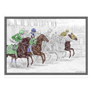 Caballos de raza de la demostración del lugar del postal