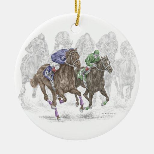 Caballos de raza galopantes adorno navideño redondo de cerámica