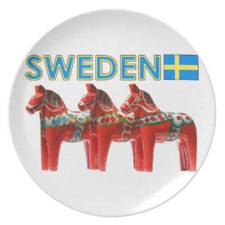 Caballos de Suecia Dala Plato De Comida