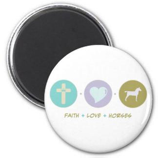 Caballos del amor de la fe imán redondo 5 cm