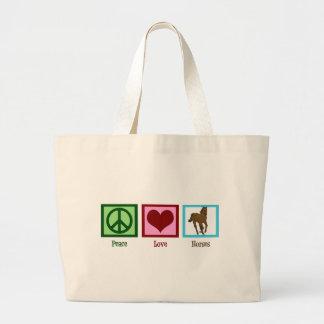 Caballos del amor de la paz bolsa tela grande